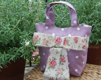 Beautiful Handcrafted Purple Handbag with Floral Burlap Bow