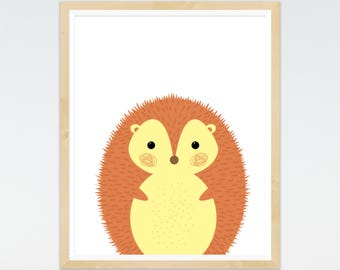 Hedgehog Print, Nursery prints, Woodland Nursery, Wall Art, Nursery Decor, Animal Art, Forest Theme, Animal prints, baby Animals Prints
