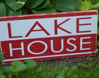 Lake House Painted Wood Sign Rustic Lake House Sign Painted Wooden Sign Cottage Sign Rustic Wood Sign Barmboard Sign Cottage Decor