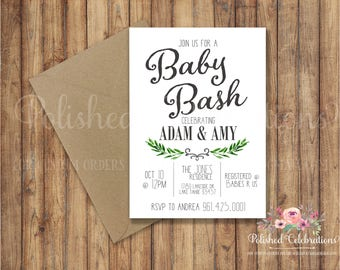 Baby Bash / Baby Shower Invitation / Simple / Modern / Greenery / Digital Invite / Diaper Party / Bridal Bash / Luncheon / Printable