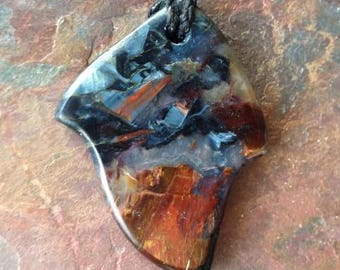 Hand Carved Pietersite Pendant Bead Necklace.