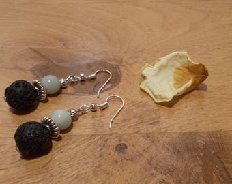 Natural amazonite stones and lava stone earrings