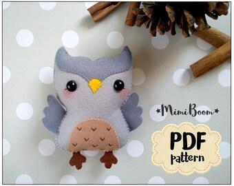 Felt owl pattern PDF owl tutoriall felt ornament owl sewing pattern DIY toy owl felt plushies tutorial ornaments Baby mobile owl making
