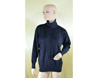Vintage Roberto Sarto ® women turtleneck sweater pullover blouse navy blue wool