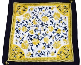 Vintage Atelier Creation scarf 100% SILK flowers floral leaves