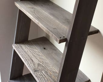 Ladder Shelf: 4 shelves with space for Laundry Hamper Distressed in Barnwood Rustic Wood Farmhouse Ladder Shelf