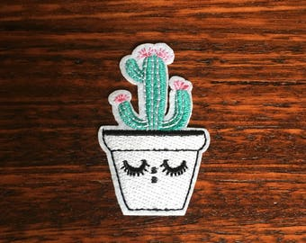 Sleeping Cactus Pot - Iron on Appliqué Patch