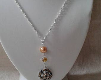 """necklace """"Silver flower and Brown rhinestones"""""""