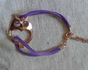 "beautiful bracelet ""OWL and purple cords"""
