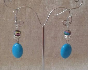 """Big Blue Pearl"" earrings"