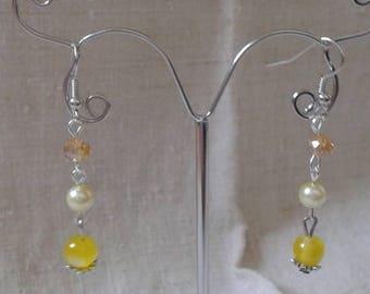 """yellow Pearl trio"" earrings"