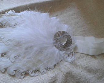 headband white feathers and rhinestone heart