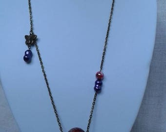 Necklace large marbled Burgundy Pearl