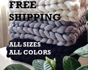 Christmas gift! FREE SHIPPING!!!100% merino wool blanket Chunky wool blanket  wool blanket Arm knit blanket Chunky knit blanktet