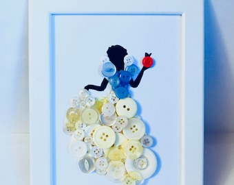 Snow White button art. Disney Princess. Perfect gift for her.