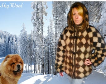 "Dog Wool Chiengora 100% Hand spinning Jacket ""Chess"""