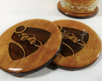 "Rocket League Coasters - Premium RL Gamer Themed Barware - Unique Designs -  Premium Laser Engraved, Light Stained 3.5"" Bar Drink Coaster"