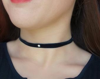 Necklace Velvet Choker Pink Choker Thin Velvet Choker Dainty Blue Choker 90s, grunge choker, Basic choker, simple choker necklace
