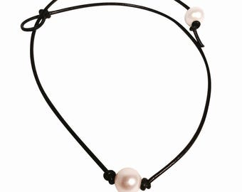 Pearl Necklace Leather Leather Pearl Necklace