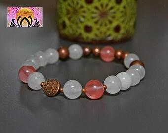 Cherry Quartz White Jade Copper Bracelet-Beaded Stretchy Bracelet-Wrist Mala-Yoga Bracelet-Boho Chic Elegant Jewellery-Stacking Layering