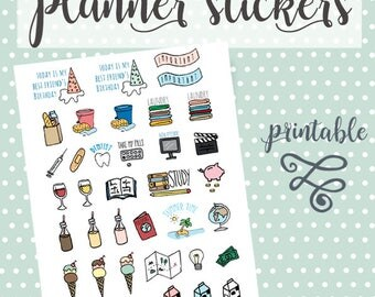 Planner stickers/Planner stickers printable/Printable stickers/Scrapbook stickers/Stickers hand drawn/Handmade stickers/Bullet journal