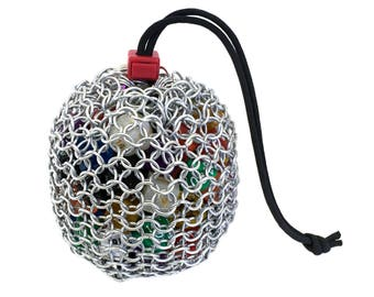 Chainmail Dice Bag - Mithril Silver