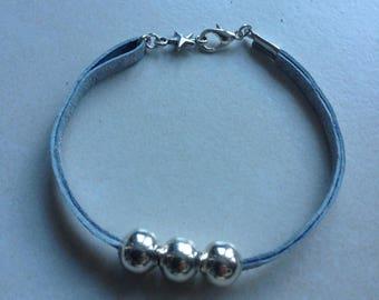 Grey Pearl Leather Bracelet silver