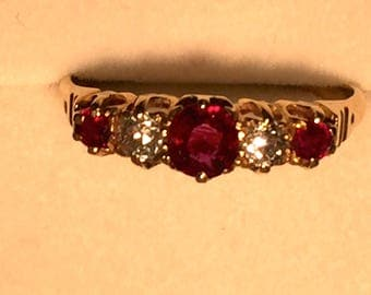Antique Victorian Ruby and Diamond ring.
