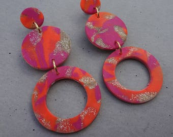Multi Hoop Studs - Neon Orange / Polymer Clay Earrings / Stud Earrings
