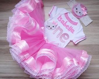 Hello Kitty birthday outfit / Hello kitty tutu first birthday tutu outfit / pink hello kitty birthday outfit / baby girl 1st birthday outfit