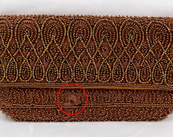 1950s Beaded Clutch Purse Bag Harrods, Made in Belgium, As Is