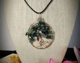 Moss Agate Copper and Silver Tree Pendant