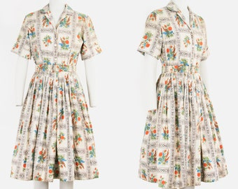Vintage 1950s Countrywise Novelty Print Dress - Floral - Roses Pattern - Picture Frame Border - Shirt Waist -  Pleated - Cotton - Small