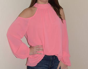 Cold Shoulder Top in Coral