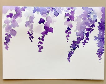Wisteria Purple Flower Watercolor Card- Floral Greeting Card, Watercolor Painted Card, Hand Made, Hand Painted, Card