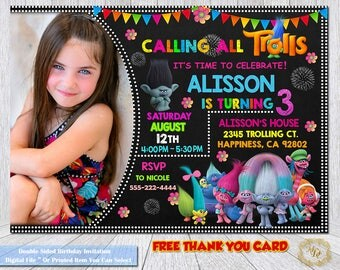 Trolls Invitation.Trolls Birthday.Trolls Birthday Invitation.Trolls Party.Photo Invitation.Invitations.Trolls Party Theme.Trolls.Girls.DIY.