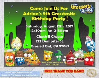 Grossery Gang Invitation. Grossery Gang Birthday.Grossery Gang Party.DIY.Grossery Gang.Invitation.Personalized Birthday Invitation.