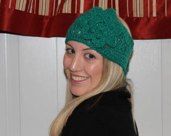 Crocheted Headband/Ear Warmer to fit any woman - can be worn with or without flower
