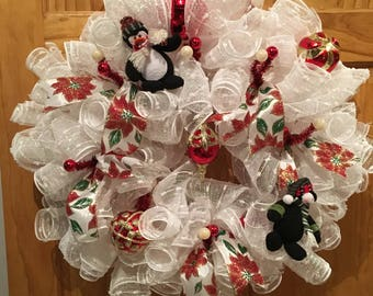 White Deco Mesh Christmas Wreath