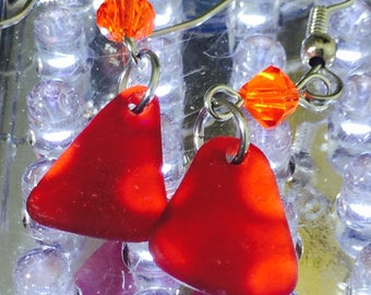 Rare red Carribean guinuine sea glass earrings with French hoop