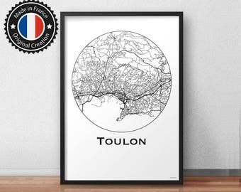 Poster Toulon France Minimalist Map - City Map