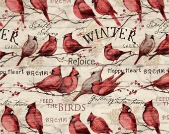 Christmas fabric patchwork red cardinal SPRING Creative
