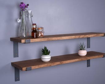 Solid Oak Vintage Industrial Shelf - Including Metal Brackets - Handmade Shelves