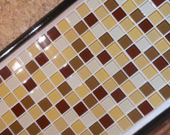 Wooden and glass tile serving tray, Ottoman serving tray, wooden mosaic tray