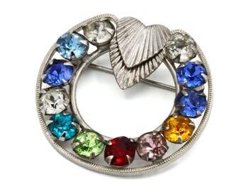 Rhinestone Circle Brooch, Uncas Curtman Jewelry, Rainbow Rhinestone Hoop Brooch, 925 Sterling Silver, Vintage 1940s Jewelry, Wreath Brooch