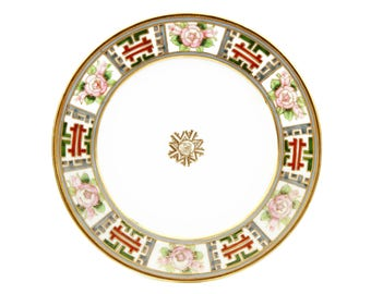 Hand Painted Nippon Decorative Plate, Antique 1920s Japanese Plate, Raised Gold Beading, Japanese Porcelain Dish, Wall Hanging, Wall Decor