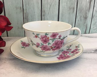 Cherry Blossoms Grantcrest China Tea Cup and Saucer Pink Florals Handpainted Japan Made teacup