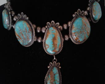 Antique Native American Navajo Turquoise and Sterling Silver Beaded Tribal Squash Blossom Necklace
