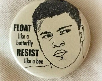 Muhammad Ali Resist Protest Pin Back Button