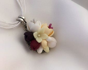 White flower pendant, Polymer clay jewelry, Cream girls floral pendant, Gift for her, Vinous plum pendant, Wedding prom brides necklace